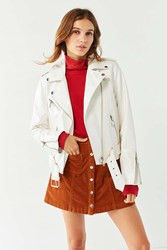 Urban Outfitters Uo Patent Leather Moto Jacket Cream