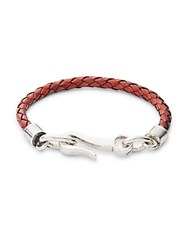 Link Up Braided Leather Single Strand Bracelet Brown