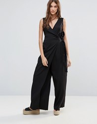 Neon Rose Wrap Jumpsuit Black
