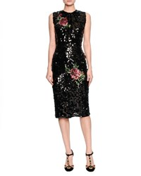 Dolce And Gabbana Sleeveless Sequined Rose Cocktail Dress Black
