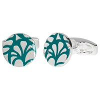 Simon Carter For John Lewis Silver Plated Round Embossed Cufflinks Teal