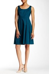 Nine West Bodice Seamed And Pleated Sleeveless Dress Blue