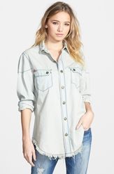 Lee Cooper Distressed Chambray Shirt Juniors Street Wash