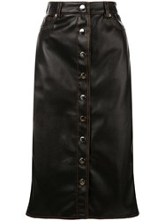 Proenza Schouler Pswl Faux Leather Button Front Midi Skirt Black