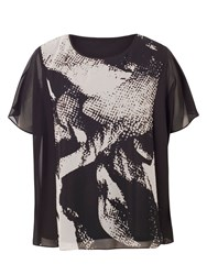 Chesca Plus Size Abstract Print Tunic Black