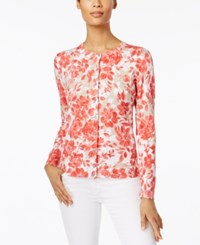 Karen Scott Printed Cardigan Only At Macy's Peony Coral Combo