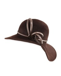 Philip Treacy Sweeping Wave Velour Hat W Leather Band Trim Chocolate