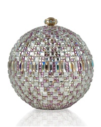 Judith Leiber Couture Rhinestone Encrusted Sphere Evening Clutch Bag Champagne
