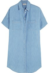 Madewell Cotton And Linen Blend Chambray Shirt Dress Light Denim