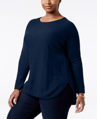 Charter Club Plus Size Cashmere Shirttail Sweater Only At Macy's Moonlit Blue