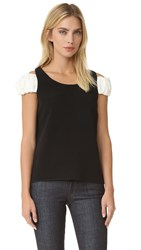 Edit Scoop Neck Top Black White