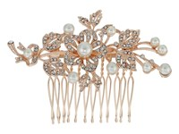 Nina Lagos Crystal Pearl Floral Comb Rose Gold Crystal Hair Accessories