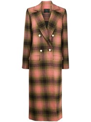 Mother Of Pearl Check Double Breasted Coat Green