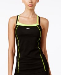 Speedo Endurance Layered Look Active Tankini Top Women's Swimsuit Sport Neon