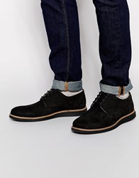 River Island Leather Derby Shoes With Wedge Sole In Black