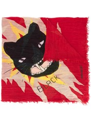 Zadig And Voltaire Cat Printed Scarf Red