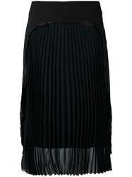 Maison Martin Margiela Pleated Front Pencil Skirt Women Silk Polyamide Spandex Elastane Virgin Wool 40 Black