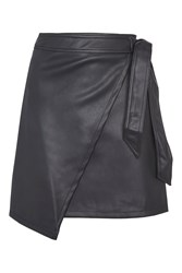 Topshop Tall Wrap Tie Mini Skirt Black