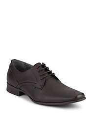 Calvin Klein Benton Textured Leather Oxfords Dark Brown