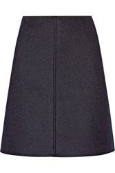 Tomas Maier Wool Blend Felt Mini Skirt Navy