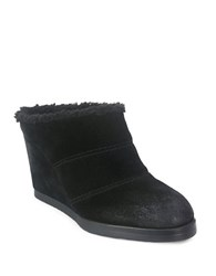 Tahari Spencer Suede Sherpa Trimmed Ankle Boots Black