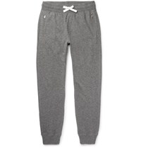 Tom Ford Slim Fit Tapered Melange Cashmere And Cotton Blend Sweatpants Gray