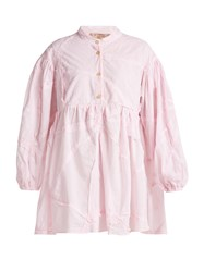 By Walid Theresa Patchwork Cotton Shirt Light Pink