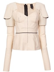 Vera Wang Bustier Longsleeved Blouse Brown