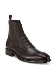 Mezlan Paneled Leather Ankle Boots Brown