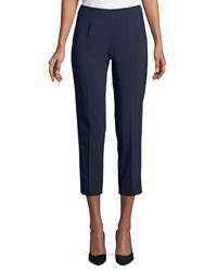 Piazza Sempione Audrey Straight Leg Stretch Wool Cropped Pants Navy