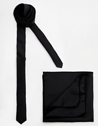 Selected Dylan Tie And Pocket Square Set Black