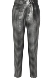 By Malene Birger Sarafina Houndstooth Brocade Tapered Pants Silver