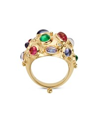 Temple St. Clair 18K Yellow Gold Cosmos Bombe Ring With Royal Blue Moonstone Tsavorite Tanzanite Pink Tourmaline And Diamonds Multi Gold