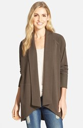 Petite Women's Caslon French Terry Shawl Collar Cardigan Olive Tuscan