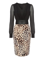 Jane Norman Fitted Leopard Top And Skirt Dress