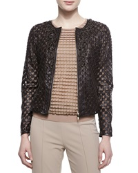 Escada Rosette Detailed Laser Cut Leather Jacket Dark Brown