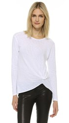 Stateside Twist Front Long Sleeve Tee White