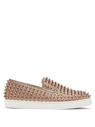 Christian Louboutin Roller Boat Spike Embellished Glittered Trainers Gold