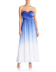 Cachet Strapless Embellished Ombre Gown Royal Blue White