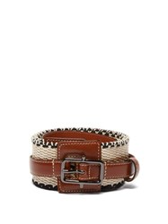 Etro Woven Cotton And Leather Belt Tan