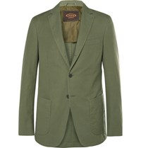 Tod's Green Slim Fit Cotton And Linen Blend Suit Jacket Army Green