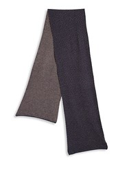 Saks Fifth Avenue Dot Patterned Wool Blend Scarf Heather Charcoal