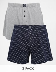 Esprit 2 Pack Boxer Trunks With Geo Print Grey
