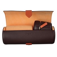 Stow Soft Leather Sanderson Travel Watch Roll And Stud Box Set Smoky Quartz Brown And Pale Orange Blue