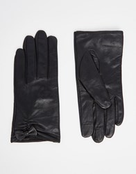 Asos Leather Gloves With Small Bow Detail And Touch Screen Black