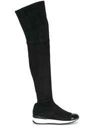 Casadei Over The Knee Flat Boots Black