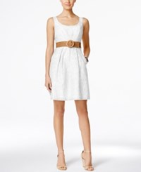 Nine West Belted Burnout Fit And Flare Dress White