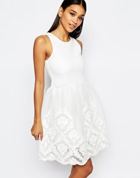 Lipsy Full Prom Skater Dress With Lace Embroidered Skirt Cream
