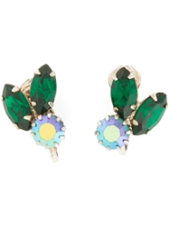 Rewind Vintage Affairs Embellished Clip On Earrings Green
