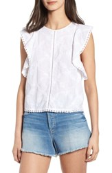 Hinge Flutter Sleeve Embroidered Top White